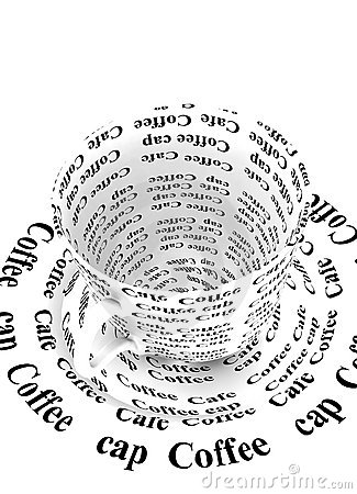 Coffee cup with word coffee