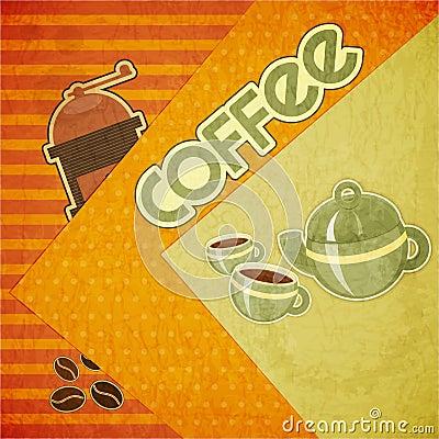 Coffee cups, coffee pot, coffee mill