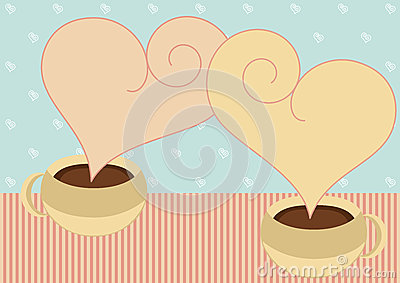 Coffee cups with heart steam valentines card