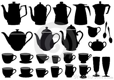Coffee cups and pots,