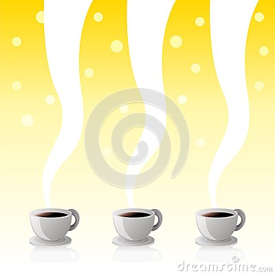 Coffee Cups Yellow Poster