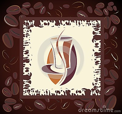 Coffee design with beans frame