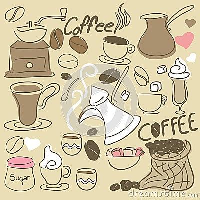 Coffee Doodle set