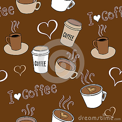 Coffee Doodles Seamless Pattern