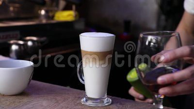 Coffee Drink. Barista Preparing Latte At Coffee Shop Closeup. Pouring Espresso In Cup With Milk stock video footage