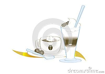 Coffee espresso and coffee latte