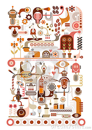 Coffee Factory - vector illustration