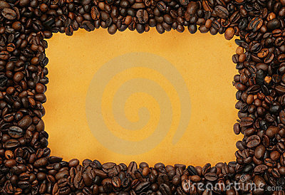 Coffee frame on yellowed paper