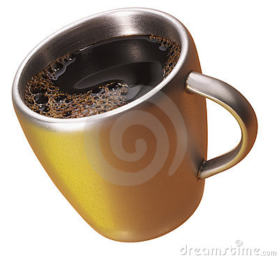 Coffee in a golden cup