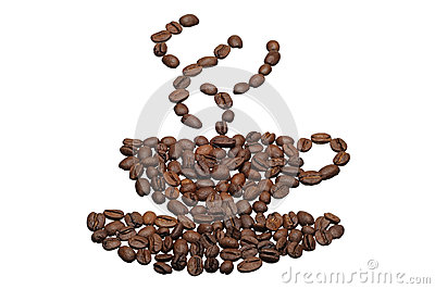 Coffee grain in a pattern cup and saucer