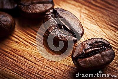 Coffee grains close up