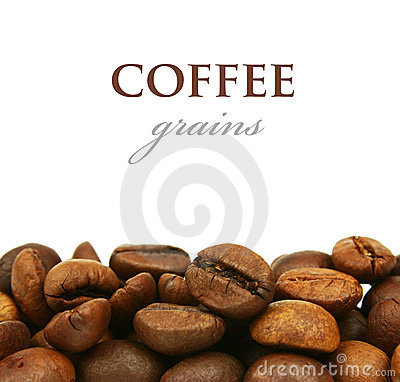Coffee grains close up isolated