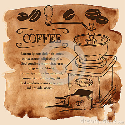 Free Coffee Grinder And Beans On A Watercolor Background Royalty Free Stock Photography - 45447907
