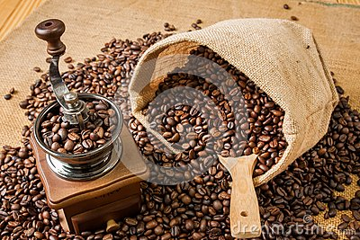 Coffee grinder beans and bag