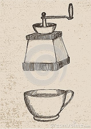 Coffee grinder and coffe cup