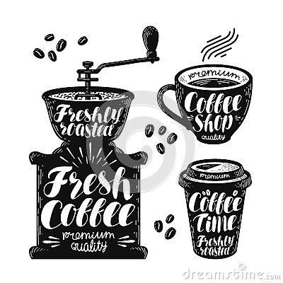 Free Coffee Grinder, Espresso Label Set. Cafe, Hot Drink, Cup Icon Or Logo. Handwritten Lettering Vector Illustration Royalty Free Stock Photos - 92362738