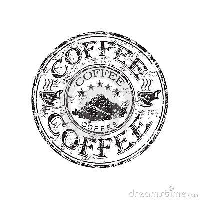 Coffee grunge rubber stamp