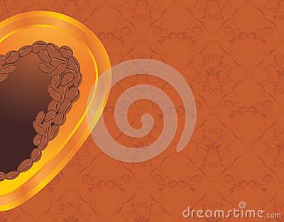 Coffee heart on the ornamental background