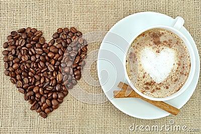 Coffee with heart shape