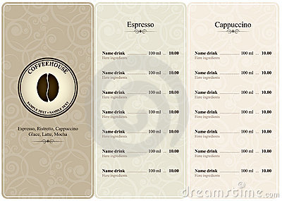 Coffee house menu
