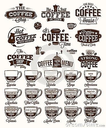 Free Coffee Label, Logo And Menu Royalty Free Stock Photo - 59561835