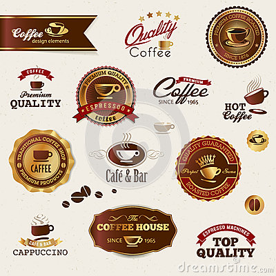 Coffee labels and elements