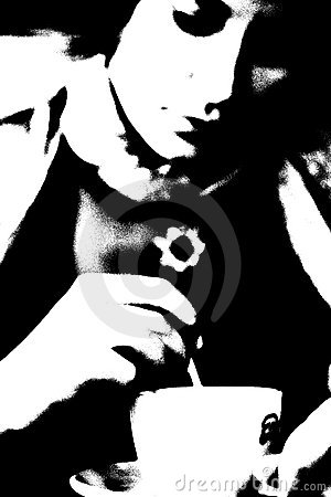 Coffee lady pop art