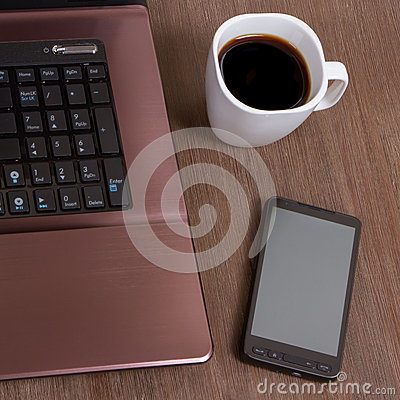 Coffee with laptop and smartphone