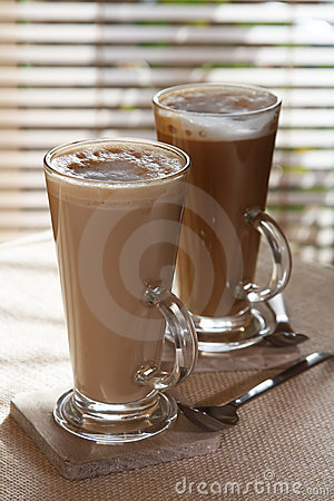 Free Coffee Latte Macchiato In Tall Glasses Stock Photos - 7024393