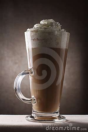 Coffee Latte in Tall Glass rustic background