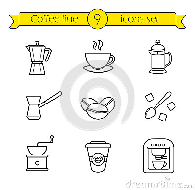 Free Coffee Linear Icons Set Royalty Free Stock Images - 68548679
