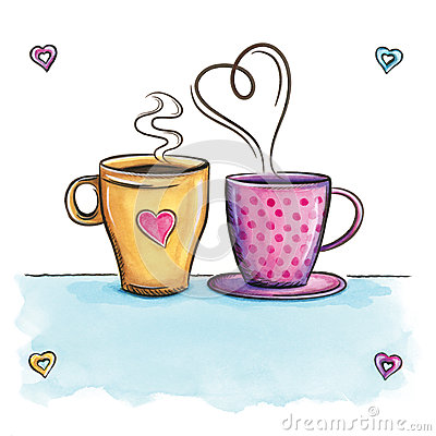 Free Coffee Love. Cups Love Background Kitchen Decor. Royalty Free Stock Image - 49256306