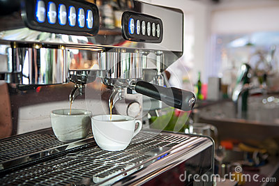 Coffee machine in the interior of the cafe