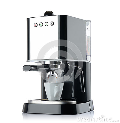 Free Coffee Machine With A White Cup Royalty Free Stock Images - 26802069