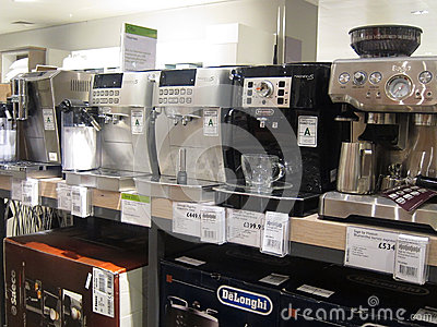 Coffee machines for sale in a store.