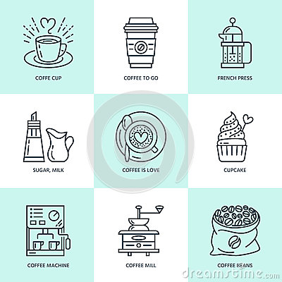 Free Coffee Making, Brewing Equipment Vector Line Icons. Elements - Coffeemaker, French Press, Grinder, Espresso, Cup, Beans Royalty Free Stock Image - 85596696
