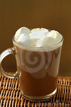 Coffee with marshmallows in large glass