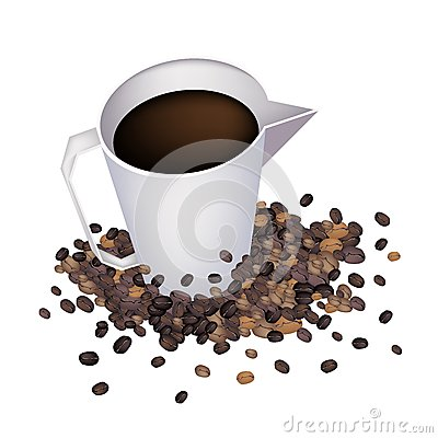 Coffee in Measure Cup with Coffee Beans
