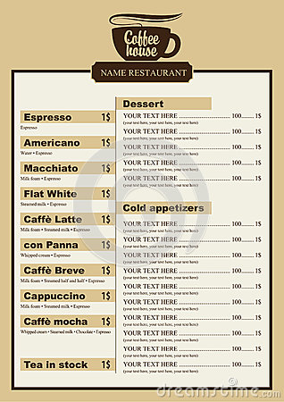 coffee menu stock photography image 33582562