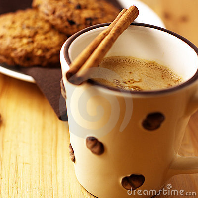 Coffee with milk and cinnamon