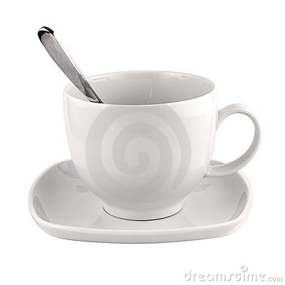 Empty White Coffee Tea Mug Saucer