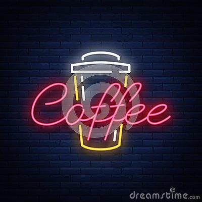 Free Coffee Neon Sign Logo Vector Illustration, Emblem In Neon Style, Bright Night Sign, Night Advertisement Of Coffee Stock Photography - 102615192