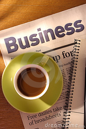 Free Coffee, Newspaper And Notebook On Desk Stock Photos - 1287933