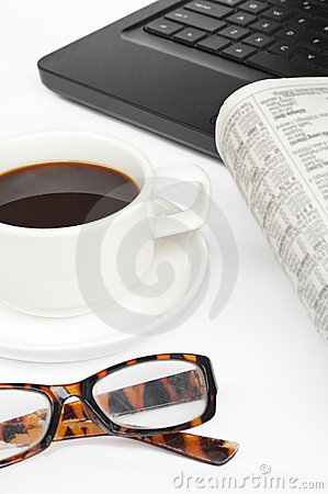 Coffee,newspaper and notebook