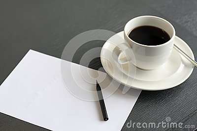 Coffee and notepaper
