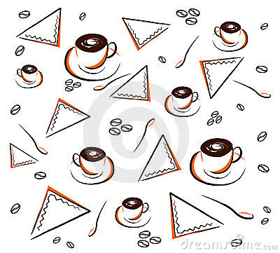 Coffee pattern on white