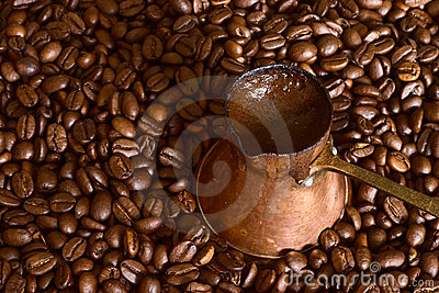 Coffee pot on beans