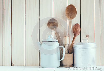 Coffee Pot Enamel Mugs And Rustic Spoons Stock Photo