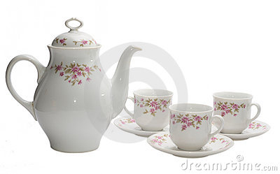 Coffee-pot and three cups