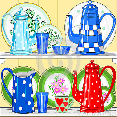 Coffee pots and dishes